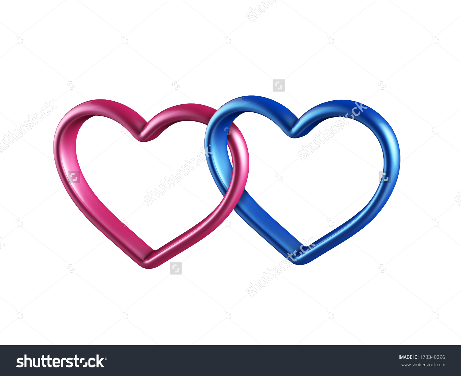 Clipart two hearts png free library Two Hearts Rings Linked Together 3d Stock Illustration 173340296 ... png free library