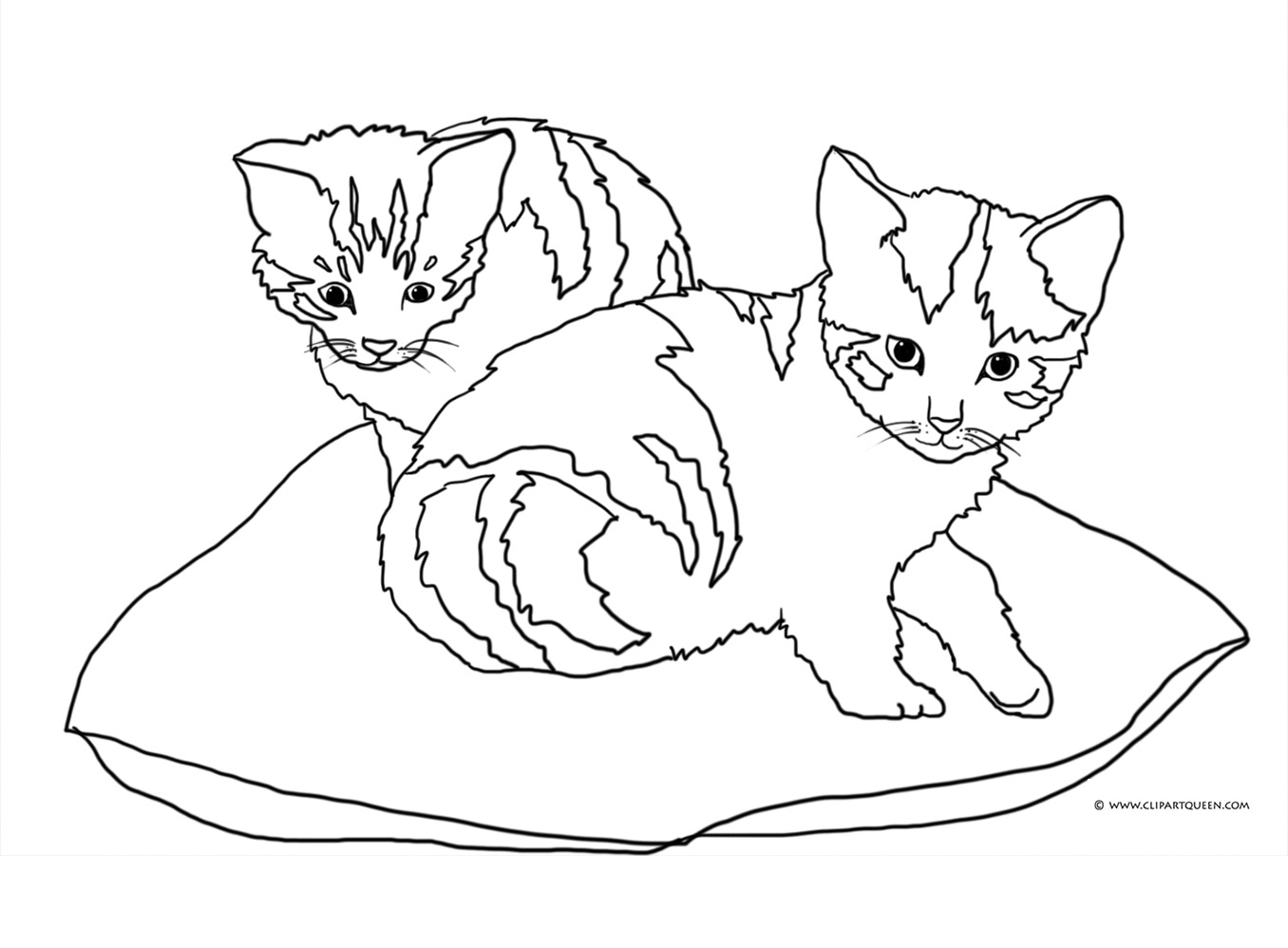 Clipart two kitties on pillow black and white clip art library library Cat Coloring Pages clip art library library