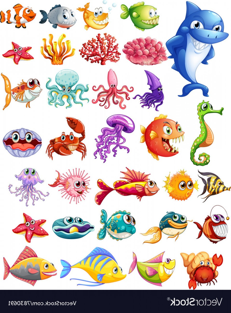 Clipart types svg library download Different Types Of Sea Animals Vector   SOIDERGI svg library download