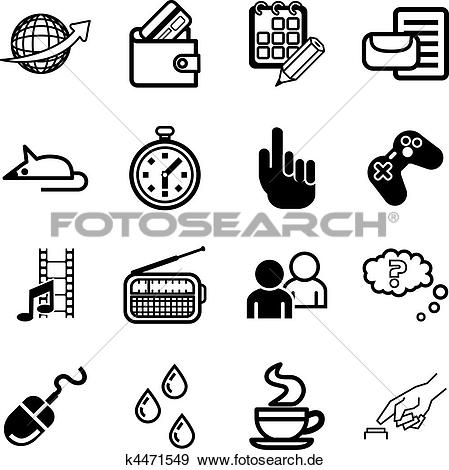 Clipart und medien clip art royalty free download Clip Art - edv, anwendung, und, medien, symbol, satz k4471549 ... clip art royalty free download