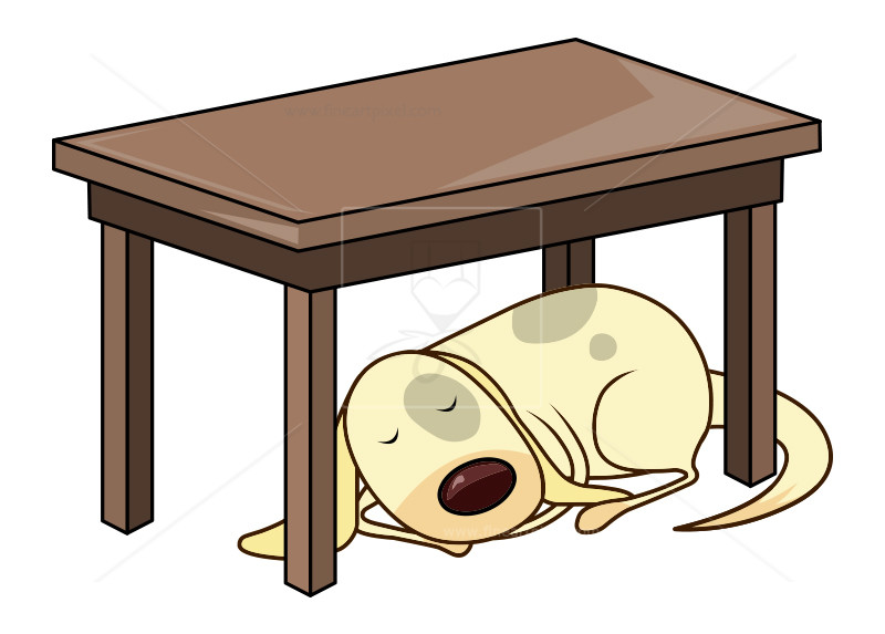 Clipart under png freeuse Dog Sleeping Under Table-Illustration-clip art | Free vectors ... png freeuse