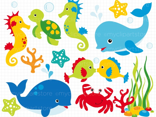 Unde the ocean clipart banner black and white download Clipart - Under the Sea | Meylah banner black and white download