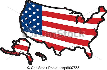 Vector of with stars. Clipart united states