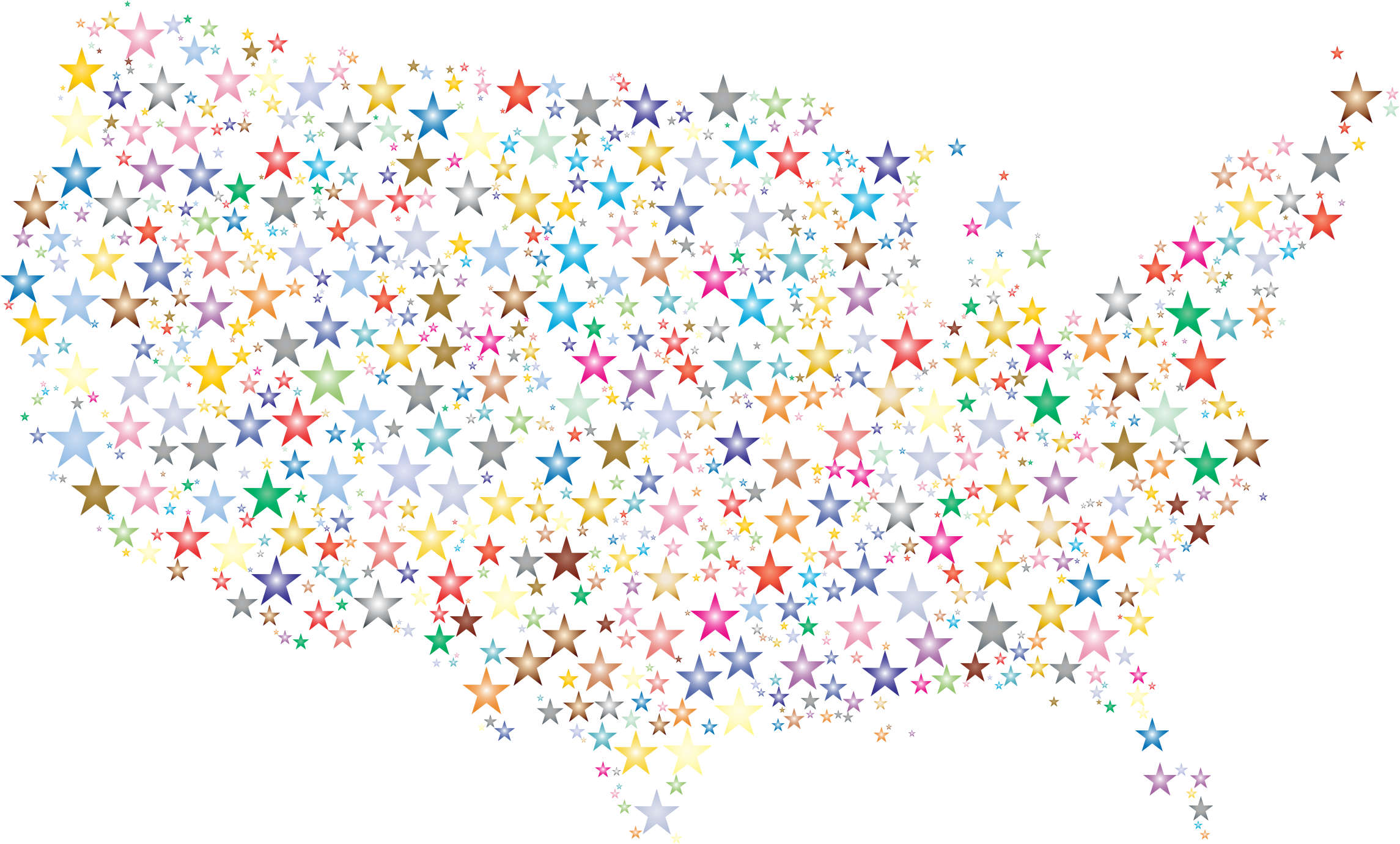 Clipart united states map clip black and white Clipart - United States Map Prismatic Stars 3 clip black and white