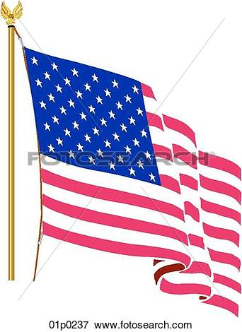 Clipart us svg library library Clip Art of us flag on a pole 01p0237 - Search Clipart ... svg library library