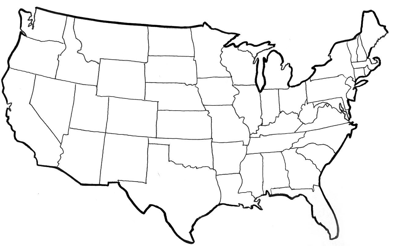 Clipart us map free clipart royalty free library Clipart Of United States Map Outline Us Drawing Usa | Funny animal ... clipart royalty free library