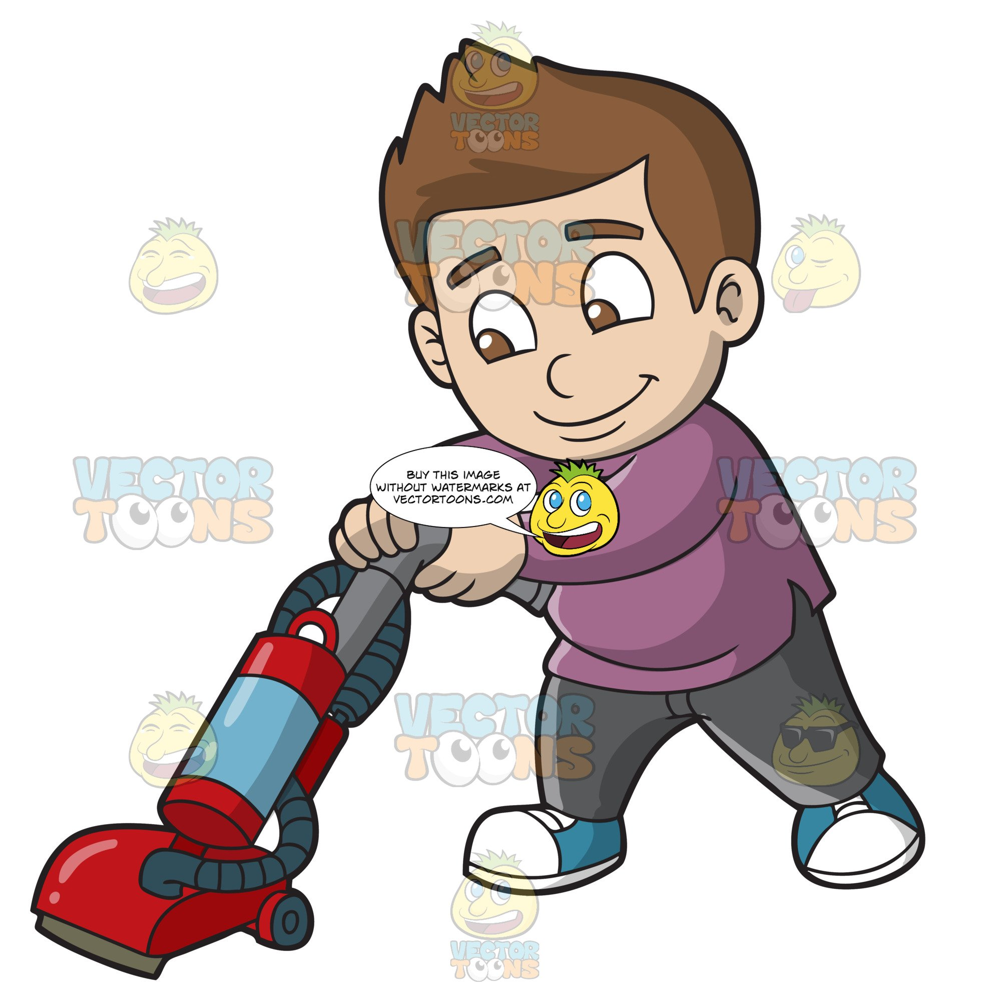 Vacuumming clipart clip art freeuse library A Boy Vacuuming The Floor clip art freeuse library
