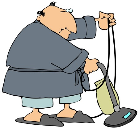 Clipart vacumming banner royalty free Chubby Man In A Robe, Pjs And Slippers, Using A Vacuum To … | Flickr banner royalty free