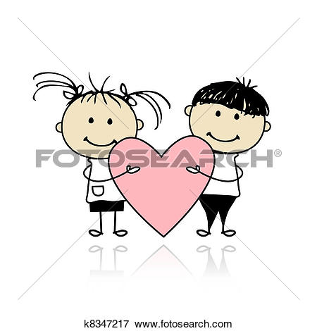 Clipart valentines day clipart png freeuse download Clip Art of Valentine day. Children with big red heart for your ... png freeuse download