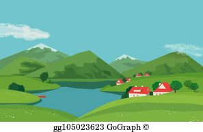 Clipart valley transparent Mountain Valley Clip Art - Royalty Free - GoGraph transparent