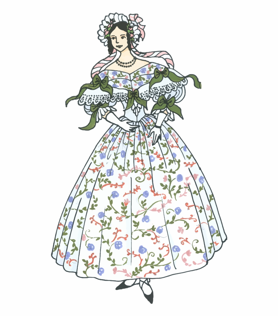 Clipart victorian women svg free stock Vintage Woman\'s Ball Gown - Clipart Victorian Women Transparent Free ... svg free stock