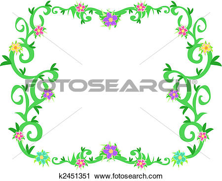 Clipart vines and flowers banner library stock Clipart of Frame of Tropical Vines and Flowers k2451351 - Search ... banner library stock