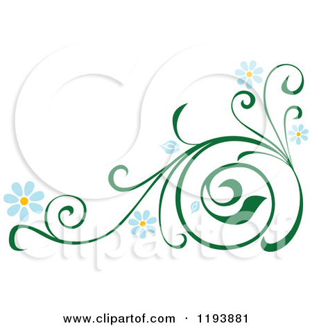 Clipart vines and flowers jpg transparent library Clipart of Green Scrolling Vines with Blue Daisy Flowers - Royalty ... jpg transparent library