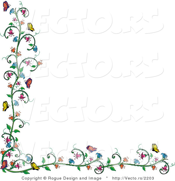 Clipart vines and flowers svg royalty free library Vector of Flowering Vine and Butterfly Border over White by Pams ... svg royalty free library