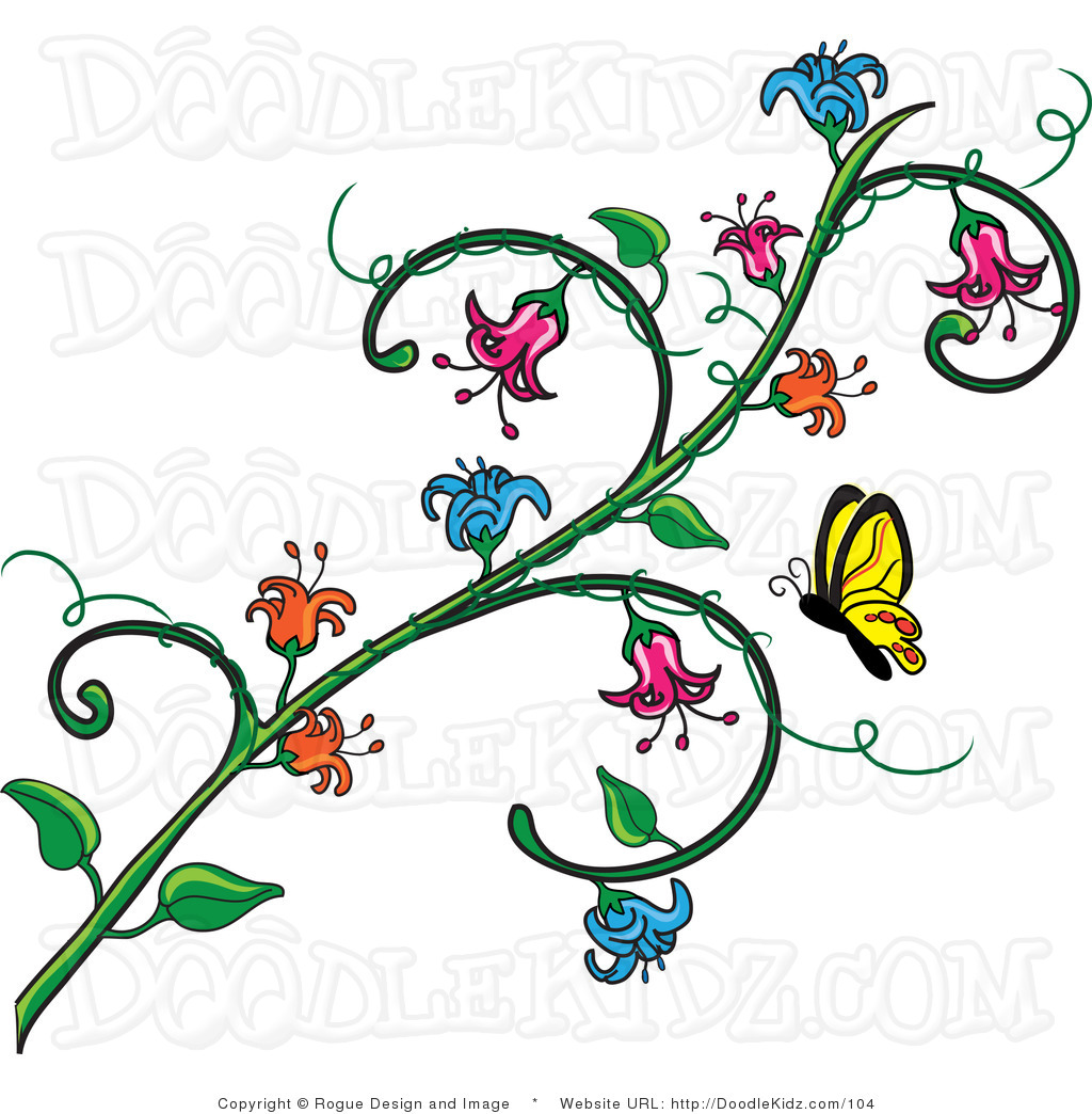 Clipart vines and flowers vector library Flower vine clip art - ClipartFest vector library