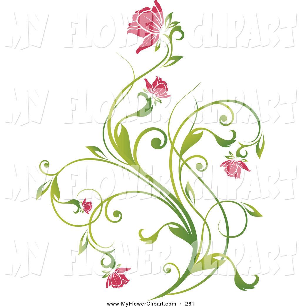 Clipart vines and flowers jpg free library Clip Art of a Delicate Green Vine with Pink Blooming Flowers on a ... jpg free library