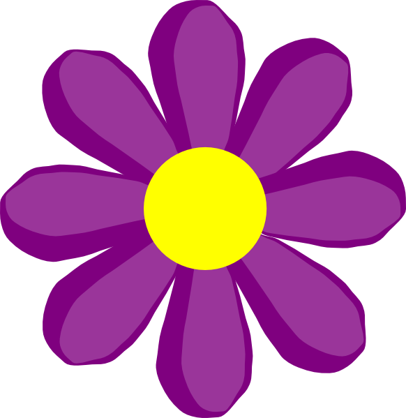 Daisy flower clipart banner black and white library Purple Flower 10 Clip Art at Clker.com - vector clip art online ... banner black and white library