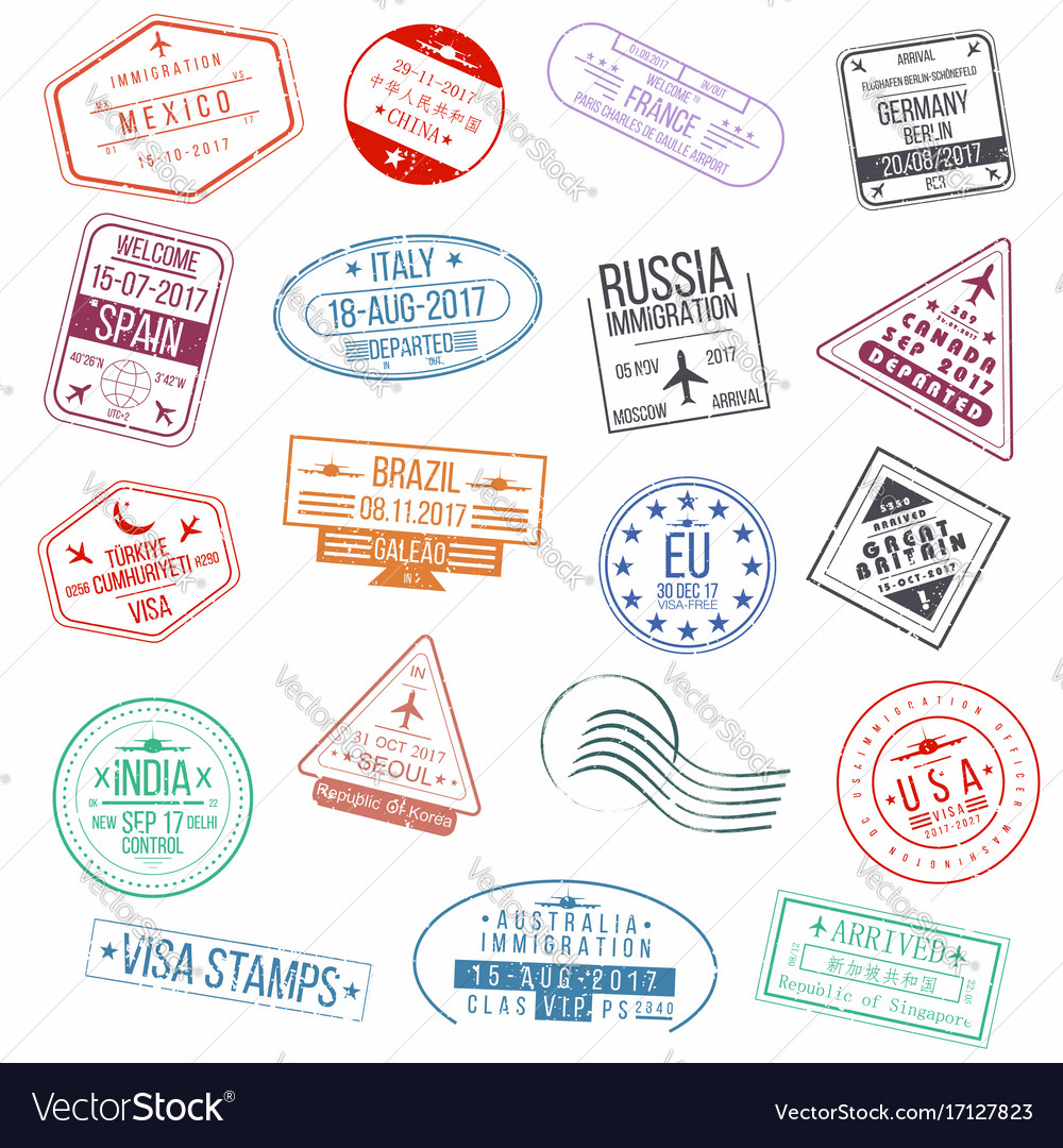 Clipart visa on arrival picture black and white download Set of visa passport stamps international picture black and white download