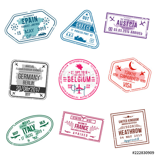 Clipart visa on arrival jpg library Set of visa stamps for passports. International and immigration ... jpg library