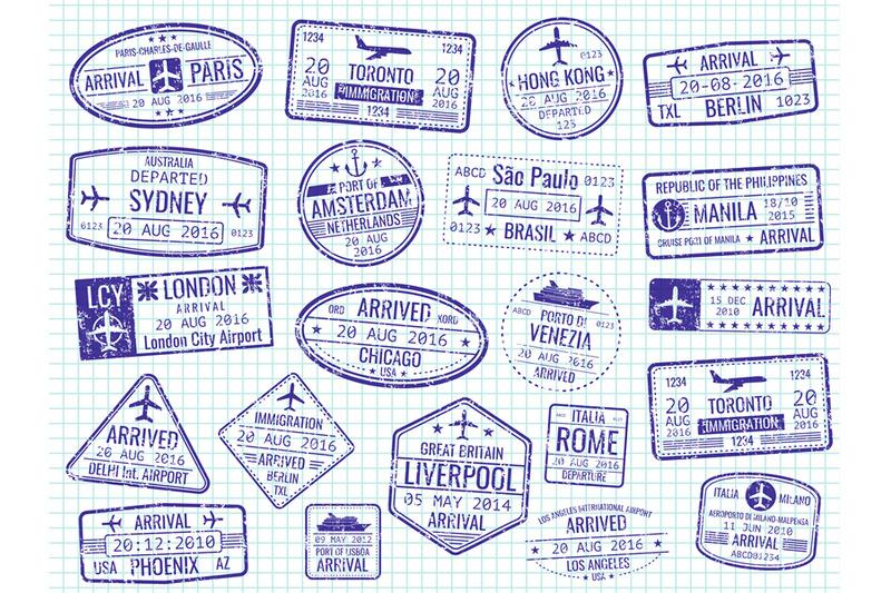 Clipart visa on arrival svg free International visa stamps - arrival, departure, immigration passport ... svg free