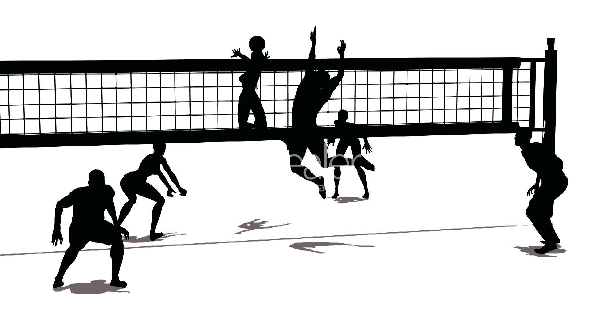 Clipart volleyball kostenlos picture black and white Image Gallery of Volleyball Team Silhouette picture black and white