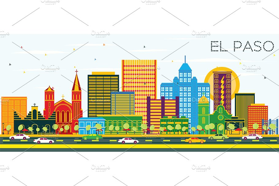 Clipart vs texas city graphic library library El Paso Texas City Skyline graphic library library
