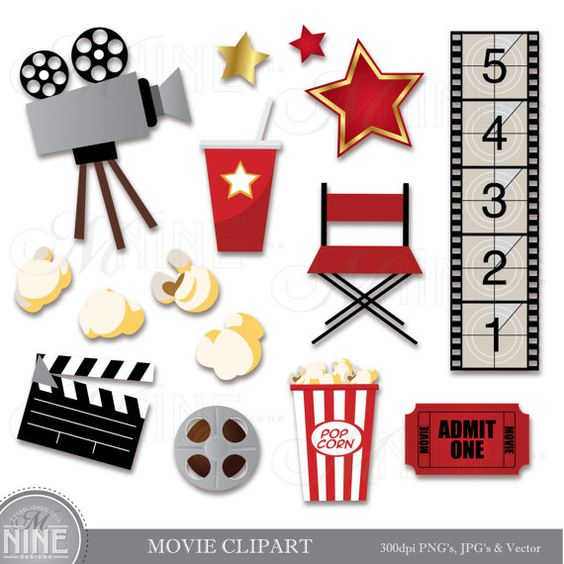 Clipart vs vector art. Movie clip download party