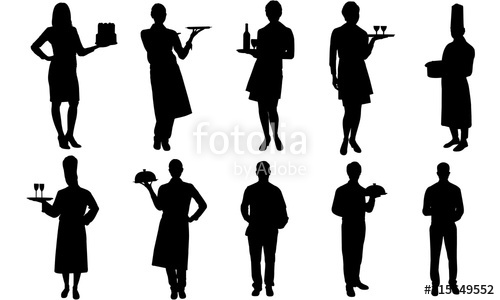 Clipart waiters clip art Waiters and Waitress Silhouette |Restaurant Service Vector| Meal ... clip art