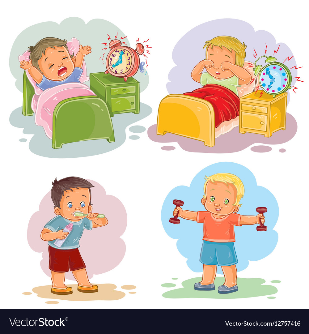 Waking up free clipart graphic royalty free Clip art of little children wake up graphic royalty free