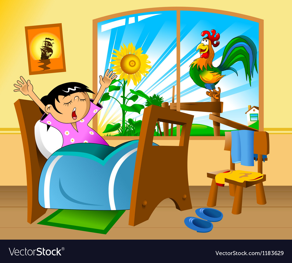 Clipart waking up in the morning banner royalty free Girl waking up in the morning banner royalty free