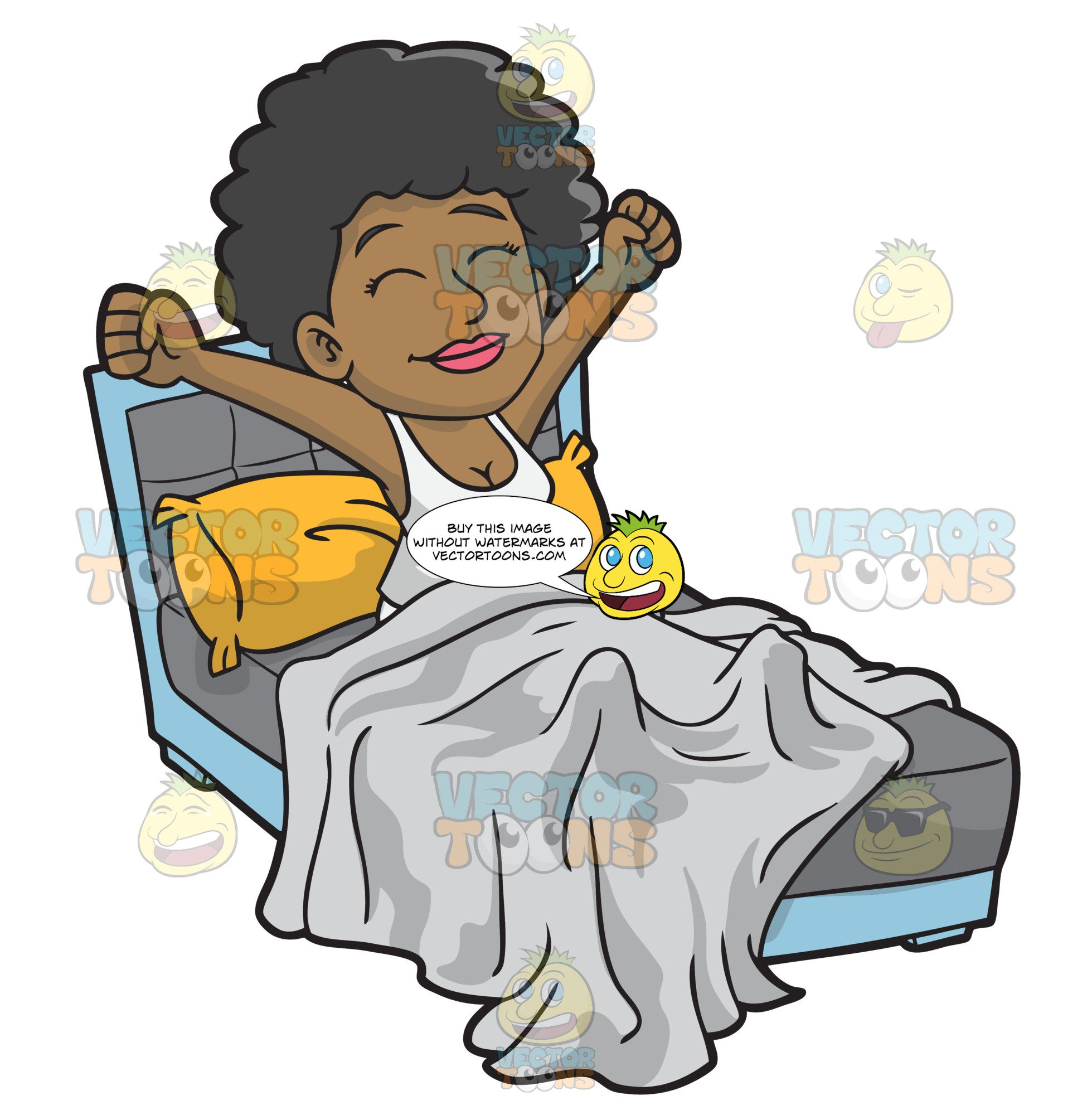 Clipart waking up in the morning vector black and white stock A Happy Black Woman Waking Up In The Morning vector black and white stock