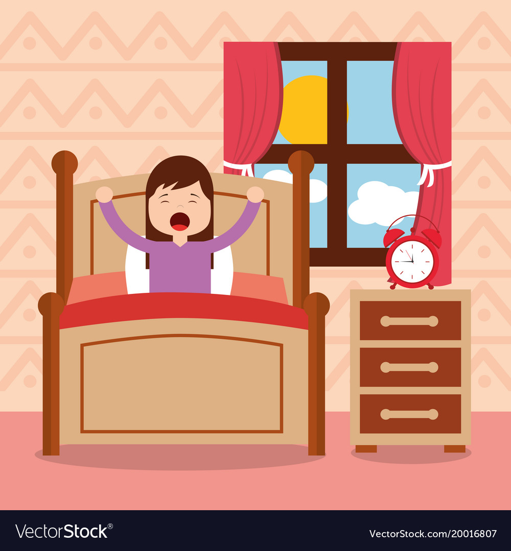 Clipart waking up in the morning clip transparent stock Girl in bed waking up in the morning clip transparent stock