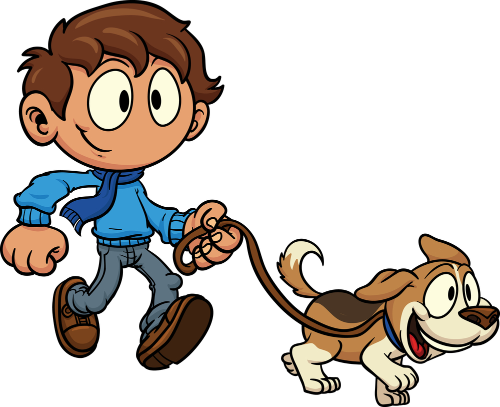 Clipart walk the dog png black and white Girl Walking Dog Clipart - Clipart Kid png black and white