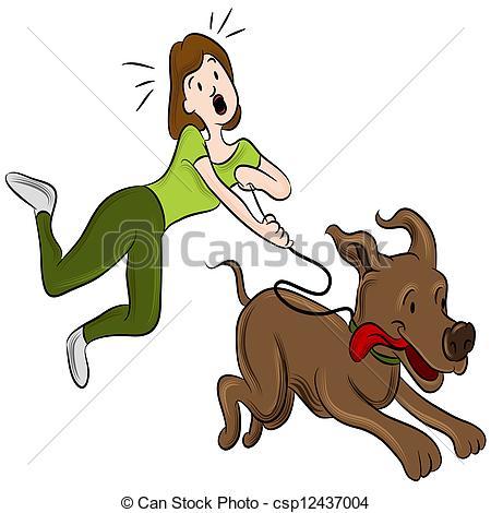 Walking vector illustrations clip. Clipart walk the dog