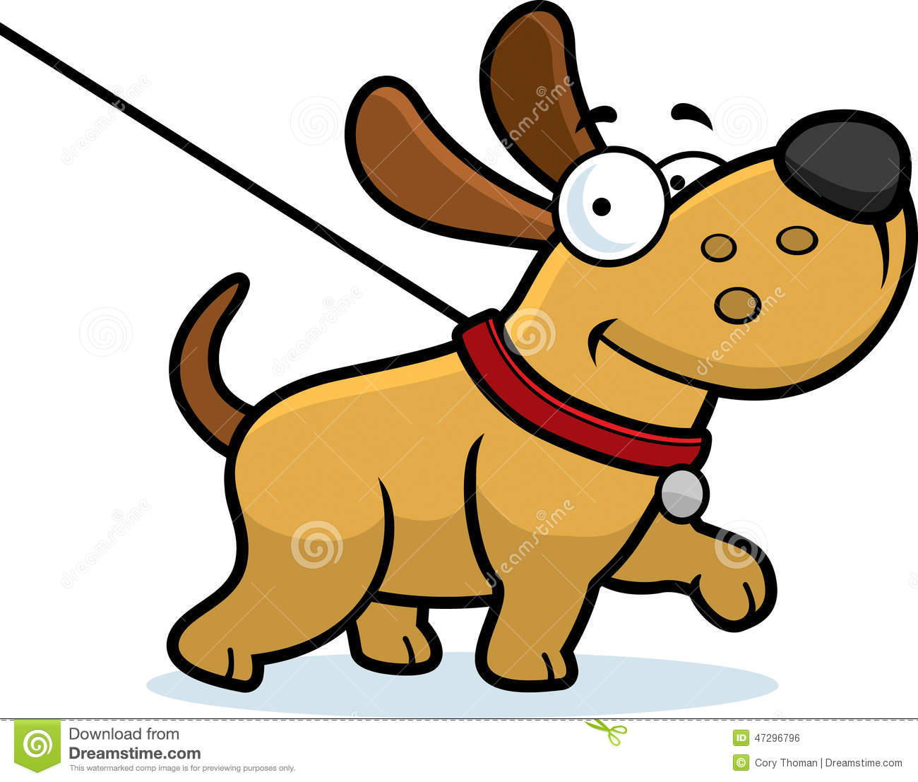 Cartoon stock vector image. Clipart walk the dog