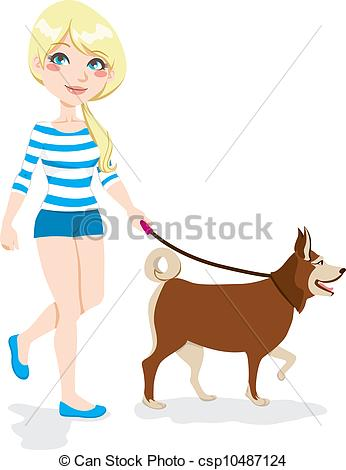 Clipart walk the dog. Girl walking kid with