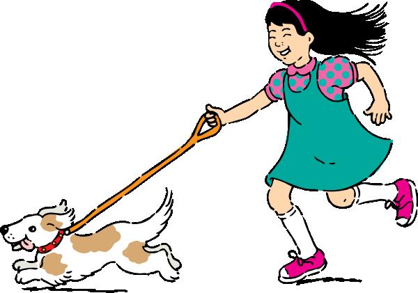 Girl walking kid clip. Clipart walk the dog