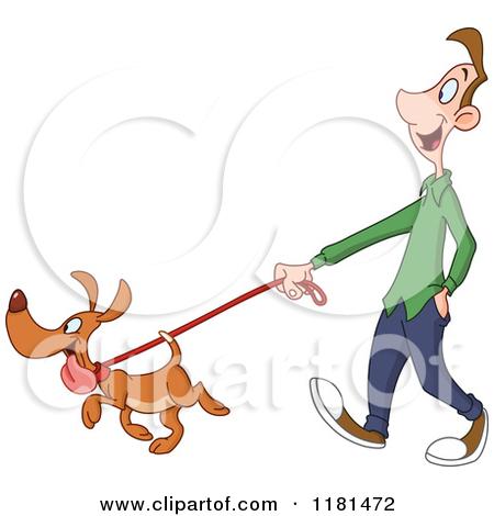 Clipart walk the dog clip art royalty free library Royalty-Free (RF) Walking Dog Clipart, Illustrations, Vector ... clip art royalty free library