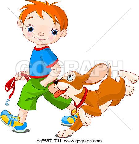 Clipart walk the dog vector freeuse EPS Vector - boy walking a dog. Stock Clipart Illustration ... vector freeuse