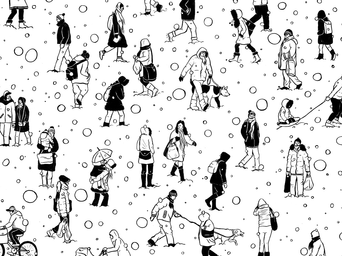 Clipart walking in the snow black and white vector royalty free download Winter by Rachel Beyer on Dribbble vector royalty free download