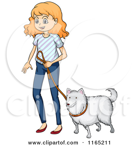 Clipart walking the dog clip art free library Cartoon of a Girl Walking a Dog - Royalty Free Vector Clipart by ... clip art free library