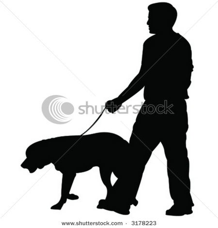 Clipart walking the dog graphic royalty free stock of a Man Walking His Dog - Vector Clip Art Illustration Picture graphic royalty free stock