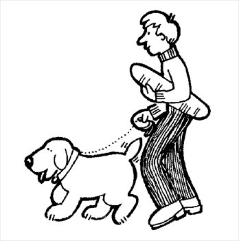 Clipart walking the dog svg black and white library Walk the dog clipart - ClipartFest svg black and white library
