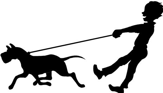 Clipart walking the dog black and white library Dog walking clipart - ClipartFest black and white library
