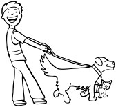 Clipart walking the dog vector black and white stock Person walking a dog clipart - ClipartFest vector black and white stock