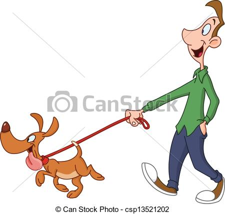 Clipart walking the dog. And stock illustrations man
