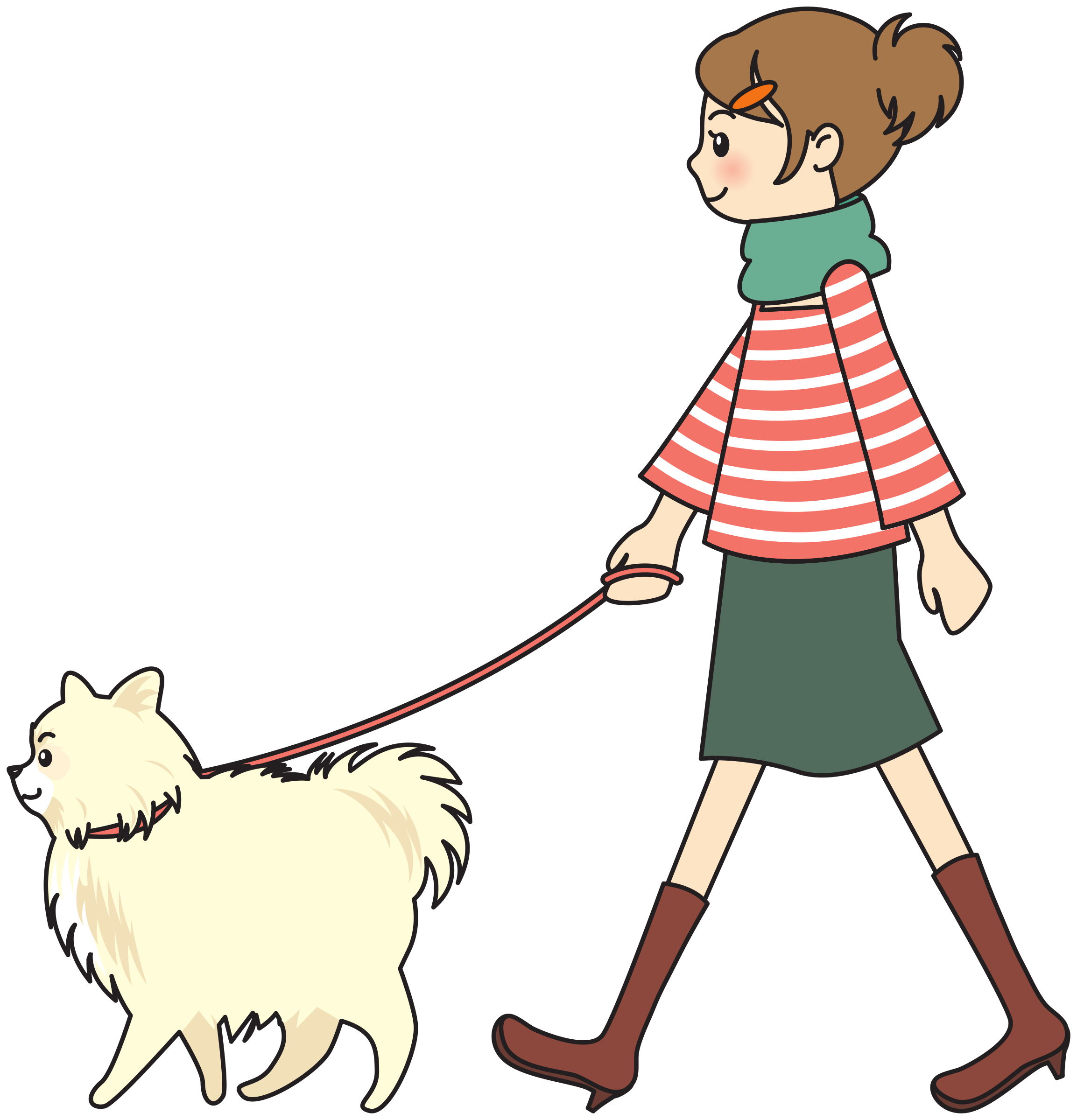 Girl and dog clipart clip art library stock Clipart - Woman walking a dog clip art library stock