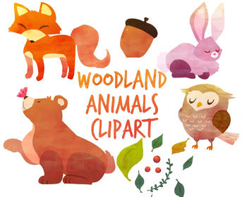 Clipart watercolor graphic freeuse library Woodland Animals clipart, fox clipart, Watercolor clipart for per graphic freeuse library
