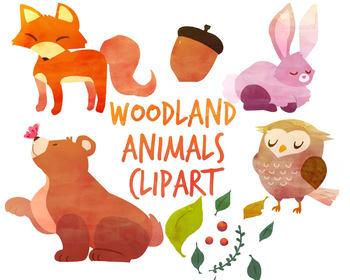 Watercolorfox clipart image black and white stock Woodland Animals clipart, fox clipart, Watercolor clipart for per image black and white stock