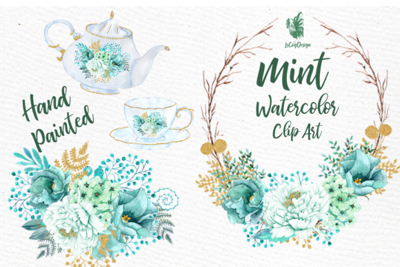 Clipart watercolor freeuse Mint Watercolor clipart WATERCOLOR FLOWERS Wedding Clipart Floral clipart  Floral Wreath Floral basket freeuse
